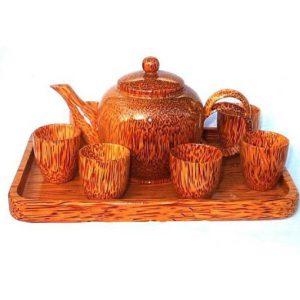 bộ ấm trà gỗ dừa