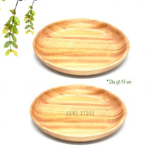Dĩa gỗ trẹt làm bằng xà cừ nguyên khối rộng 19cm