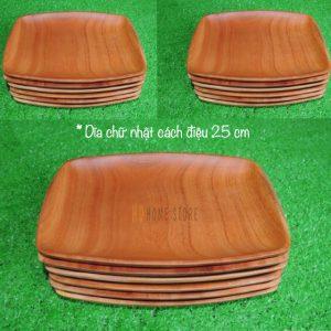 Dĩa chữ nhật cách điệu bằng gỗ xà cừ