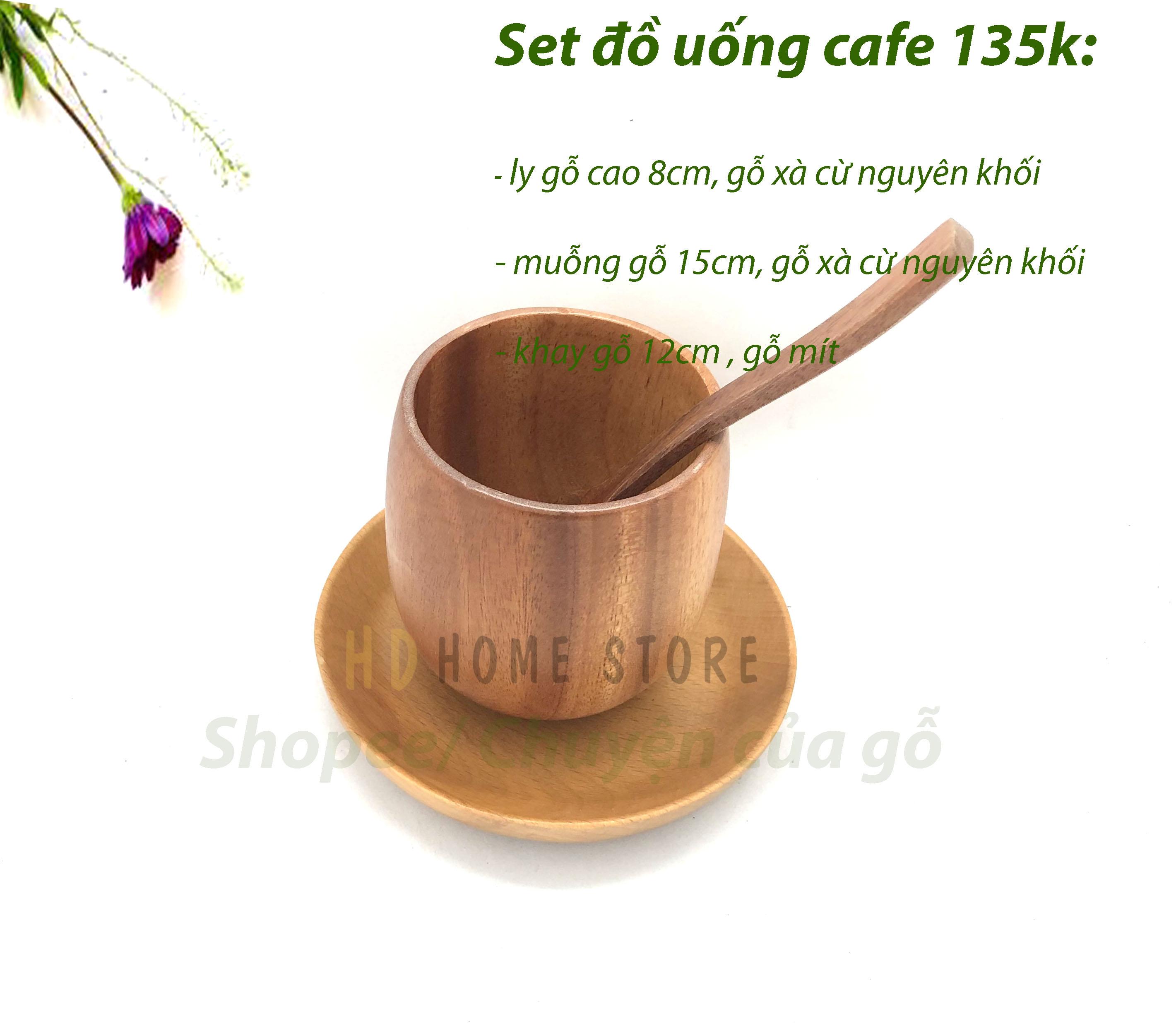 Set ly tách uống cafe bằng gỗ