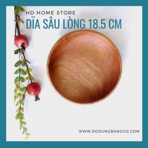 Dĩa gỗ cao xà cừ nguyên khối 18.5cm