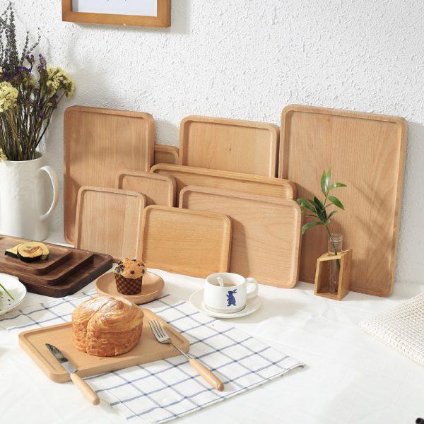 Khay chữ nhật gỗ beech 38.5x26cm
