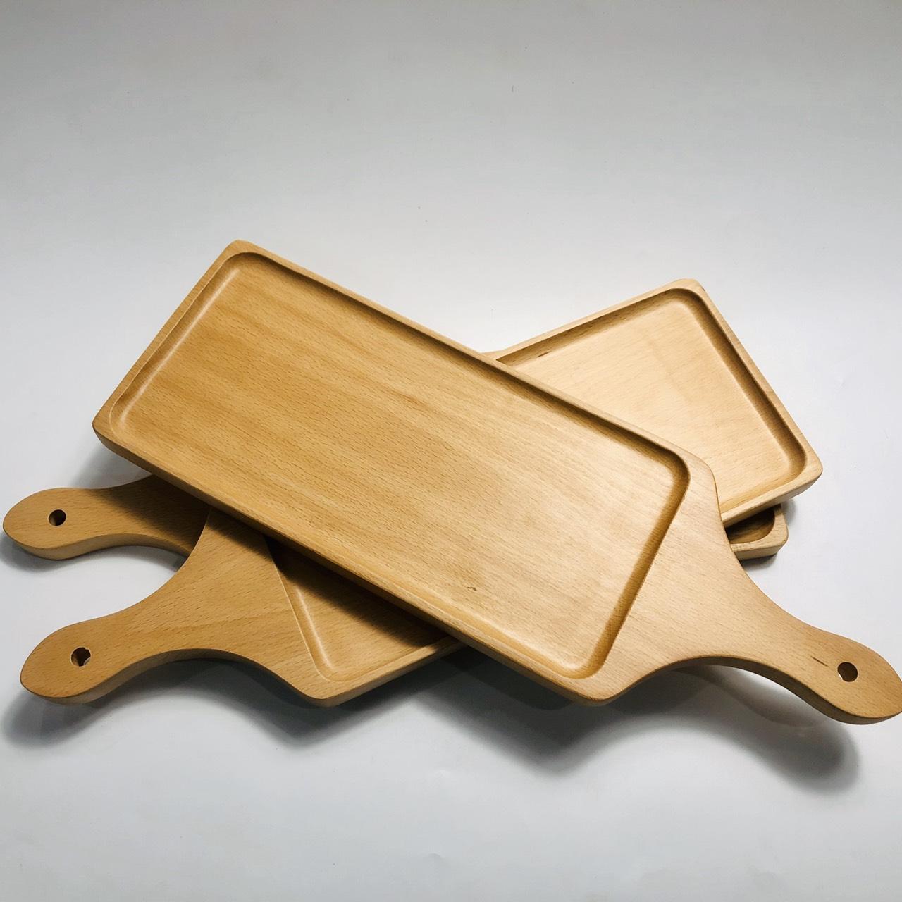 Khay có tay cầm gỗ beech 44.5x15cm