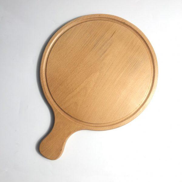 Thớt tròn có tay cầm gỗ beech 40x30cm