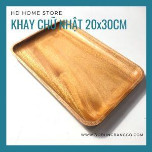 Khay chữ nhật gỗ xà cừ 20x30cm