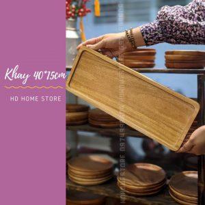 Khay chữ nhật gỗ xà cừ 40*15cm